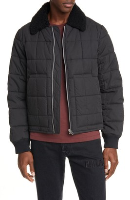 Helmut Lang Genuine Shearling Collar Quilted Bomber