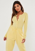 Missguided Yellow Ribbed Button Front Bodysuit