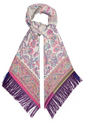 Etro Paisley Fil Coupe-jacquard Sheer-voile Scarf - Womens - White Multi
