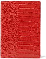 Smythson Mara Croc-effect Leather Passport Cover - Coral