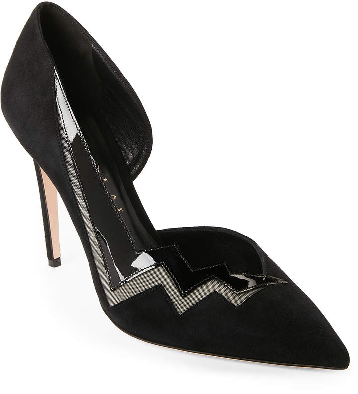 Aperlaï Black Zigzag Pumps