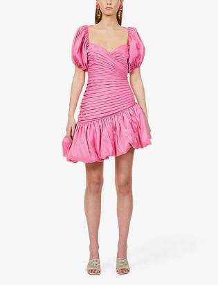 Rotate by Birger Christensen Dionne puff-sleeve ruched taffeta mini dress