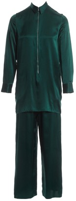 Acne Studios Green Silk Jumpsuits