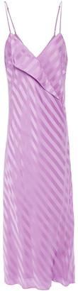 Mason by Michelle Mason Draped Striped Silk-satin Jacquard Midi Dress