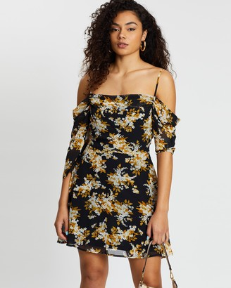 boohoo Floral Print Cowl Front Skater Dress