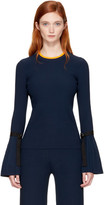 3.1 Phillip Lim Navy Pleated Pullover