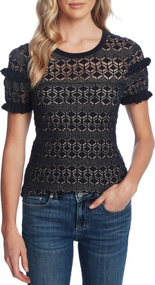 CeCe Ruffle Detail Pointelle Short Sleeve Sweater