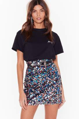 Nasty Gal Womens Give Me the Night Sequin Mini Skirt - grey - 12