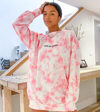 New Girl Order Petite logo sweater dress in tie- dye