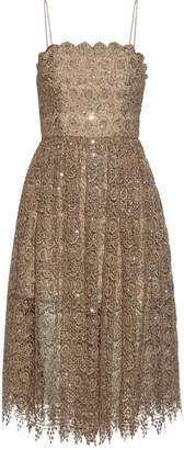 Alice + Olivia Sequined Metallic Macrame Lace Dress