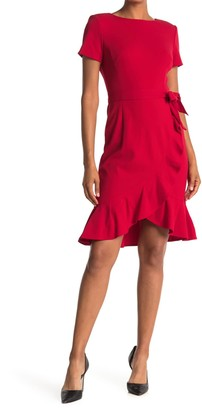 Calvin Klein Belted Ruffle Hem Dress