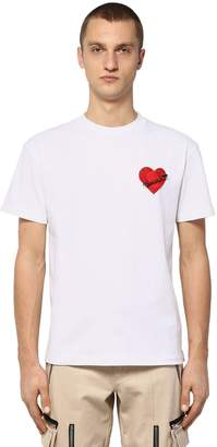Palm Angels Cotton Jersey T-shirt W/ Heart Patch