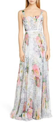 Marchesa Floral Pleated Tulle Gown