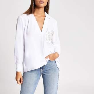 River Island Womens White sequin pocket long sleeve shirt