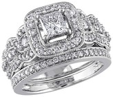 Allura 1 1/4 CT. T.W. Princess Cut and Round Diamond Bridal Ring Set in 14K White Gold (GH I1-I2)