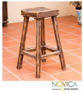 Novica Handcrafted Pinewood 'Vintage Brown Ranch' Bar Stool (Mexico)