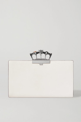 Alexander McQueen Knuckle Embellished Textured-leather Clutch - Ivory