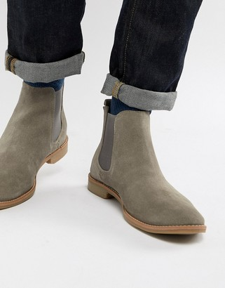 Asos Design DESIGN chelsea boots in gray suede with natural sole