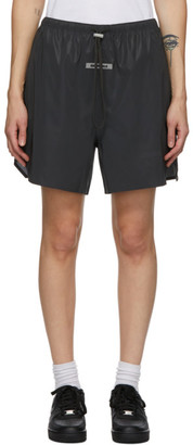 Essentials Black Reflective Volley Shorts