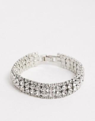 True Decadence double row cuff bracelet in silver crystal