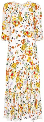 By Ti Mo Floral Pattern Flared-Hem Dress
