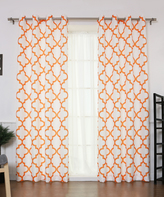 Best Home Fashion Orange Oxford Reverse Curtain Panel - Set of Two