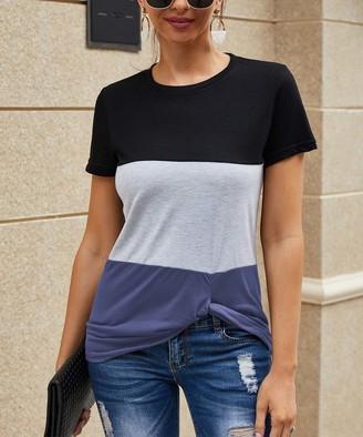 Coeur De Vague Coeur de Vague Women's Tee Shirts Navy - Navy & Black Color Block Knot-Front Tee - Women