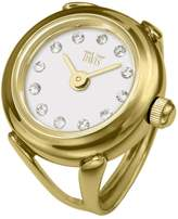 Swarovski Davis 4174-Women's Finger Ring watch-Yellow Gold Case- Dial Crystal stones-Sapphire Glass-Adjustable