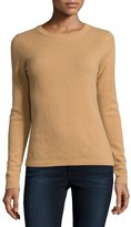 Neiman Marcus Cashmere Basic Pullover Sweater, Camel
