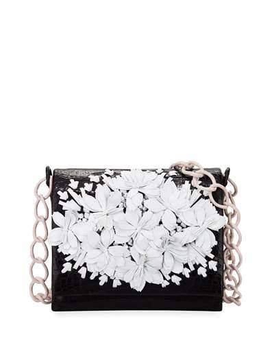 Nancy Gonzalez Floral Crocodile Crossbody Bag