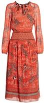 Saloni Thala Monkey & Weed Print Silk Midi A-Line Georgette Dress