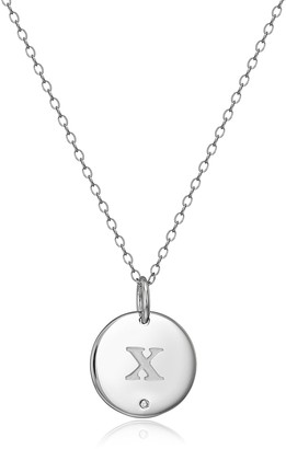 """Amazon Collection Sterling Silver Diamond Accent Round Disc Initial Letter """"X"""" Pendant Neckalce"""