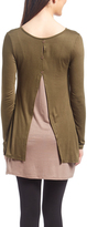 Celeste Olive & Mocha Button-Back Layered Tunic