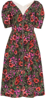 Marni V-neck floral print midi dress