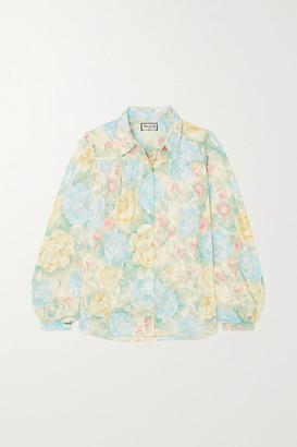 Paul & Joe Carmina Floral-print Cotton-jacquard Blouse - Blue