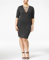 Soprano Trendy Plus Size Lace-Up Dress