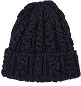 CA4LA Men's Cable-Knit Wool Beanie-NAVY