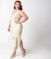 Unique Vintage Plus Size 1920s Style Ivory Beaded Sinclair Flapper Dress