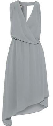 Halston Asymmetric Wrap-effect Chiffon Dress