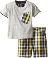 U.S. Polo Assn. Baby-Boys Newborn Pocket T-Shirt and Plaid Short Set