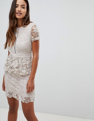 Girl In Mind short sleeve crochet lace peplem dress