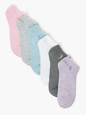 Ralph Lauren Polo Trainer Socks, Pack of 6, Pink/Multi