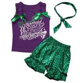 Charm Kingdom Kid Baby Girl Cute 3pcs Set Headband + mermaid Ruffle Top Shirt + Mermaid Shorts Clothes Set