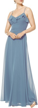 #Levkoff Ruffle V-Neck Chiffon Gown