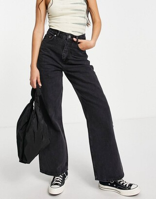 ASOS DESIGN high rise 'relaxed' dad jeans in washed black