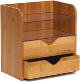 "Lipper 8.25"" Bamboo 4 Tier Desk Organizer with Acrylic Shelves"