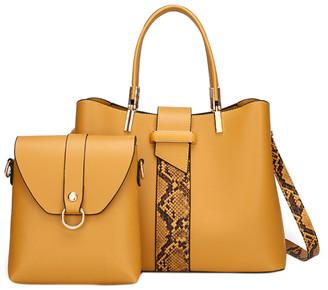 Ella & Elly Women's Handbags Yellow - Yellow Snake-Embossed Satchel & Crossbody Bag