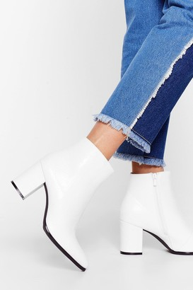 Nasty Gal Womens Life and Sole of the Party Heeled Ankle Boots - White