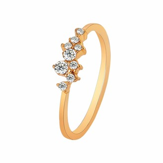 Am Clearance Rings for Women - Valentines Gifts for Her - Simple 18k Gold Plated Rings White Studded Eternity Ring 925 Sterling Silver Plated Engagement Stackable Rings Jewelry Gift for Wedding (Gold 6)