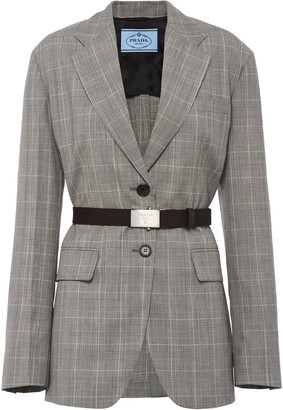 Prada Single-Breasted Belted Blazer